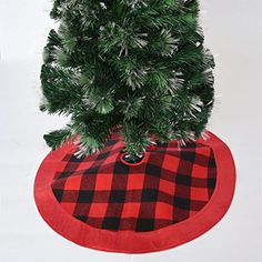 Gireshome 50 Buffalo Check Plaid Christmas Tree Skirt with red suede Border XMAS Tree Decoration Merry Christmas Supplies Christmas Decoration *** You can get additional details at the image link. (This is an affiliate link) #ChristmasTreeSkirts