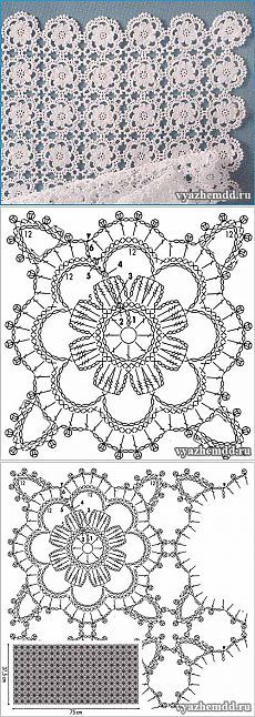 Ideas crochet granny square diagram african flowers for 2019 Point Granny Au Crochet, Crochet Flower Squares, Crochet Blocks, Crochet Flowers, Lace Flowers, Filet Crochet, Crochet Diagram, Crochet Chart, Tutorial Crochet