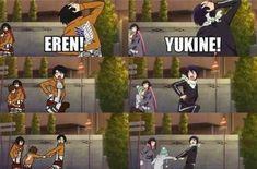 Levi-Eren-Mikasa x Yato-Yukine-Hiyori. It's even funnier because Eren& Yukine and Levi&Yato share the same voice actors Noragami Anime, Noragami Bishamon, Anime Meme, Otaku Anime, Manga Anime, Fandom Crossover, Anime Crossover, Eren E Levi, Yatori