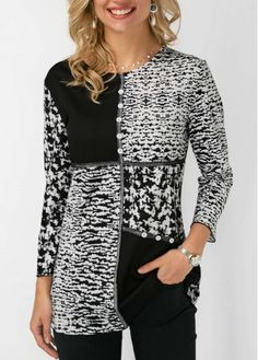 Round Neck Button Detail Printed Blouse Women Clothes For Cheap, Collections, Styles Perfectly Fit You, Never Miss It! Trendy Tops For Women, Blouses For Women, Red Blouses, Shirt Blouses, Formal Blouses, Fashion Blouses, Mode Hijab, Printed Blouse, Dame