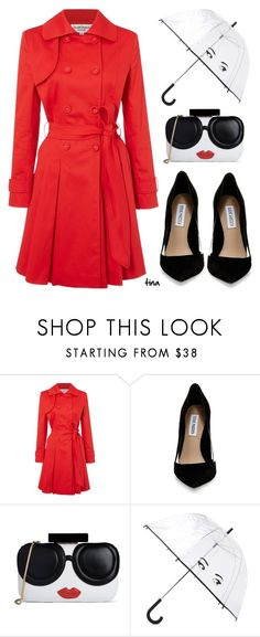 """Red Trench Coat"" by matulik77 ❤ liked on Polyvore featuring Helene Berman, Steve Madden, Alice + Olivia and Kate Spade"