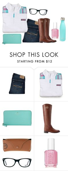 """Shoutout set!!Read D!!"" by evedriggers ❤ liked on Polyvore featuring Abercrombie & Fitch, Vineyard Vines, Kate Spade, Tory Burch, Ray-Ban, Essie and S'well"