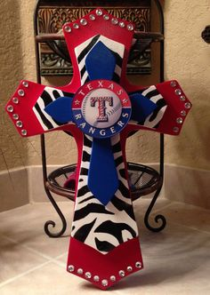 Large+Texas+Rangers+Theme++Wood+Cross+by+SignsBYDebbieHess+on+Etsy,+$38.00