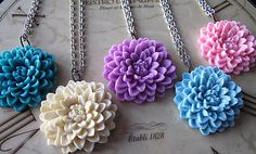 Flower Necklaces,  Huge Dahlia,  Antique Silver, Vintage Inspired Wedding, Set Of SIX, Bridesmaids Gifts, Brides On A  Budget