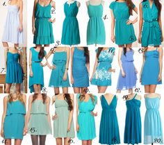 92 Bridesmaid dresses for $55 or less --  These are inspiration boards in several color schemes (coral, teal, blush, yellow, and floral... More to be added) for the mismatched bridesmaid dress trend - The work is done for you! :) Just choose your color scheme and direct your girls to the pic! :)
