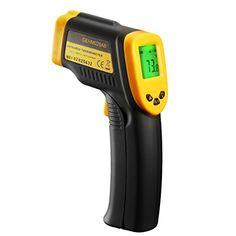 Ber�hrungslose Infrarot-Thermometer Digital Laser mit 2 Einheiten (Celsius und Fahrenheit), Ma�nahme Messtemperatur ohne kontakt, gro�e LCD-Bildschirm, breiter Temperaturbereich und h�here Genauigkeit, gelb und schwarz