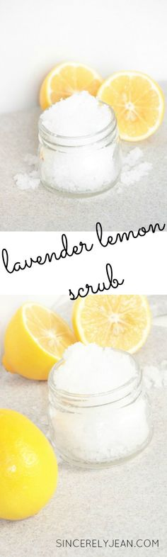 Lavender and Lemon Salt Scrub Lavender Lemon Salt Scrub - Step by step tutorial on how to make your own salt scrub Sugar Scrub Recipe, Sugar Scrub Diy, Body Scrub Recipe, Zucker Schrubben Diy, Diy Para A Casa, Diy Peeling, Lavender And Lemon, Lavender Oil, Lip Scrubs