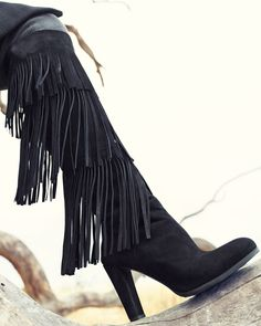get ready for fall in the Stuart Weitzman Fringie Fringe Suede Tall Boot