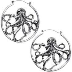 Octopus Tunnel Plug Hoop Hanger Earring Set