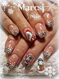 Xmas Nail Rudolf Santa Claus Nail hair love type stunning Make-up Nail Art Noel, Xmas Nail Art, Holiday Nail Art, Xmas Nails, New Year's Nails, Cool Nail Art, Christmas Nails, Cute Nails, Pretty Nails