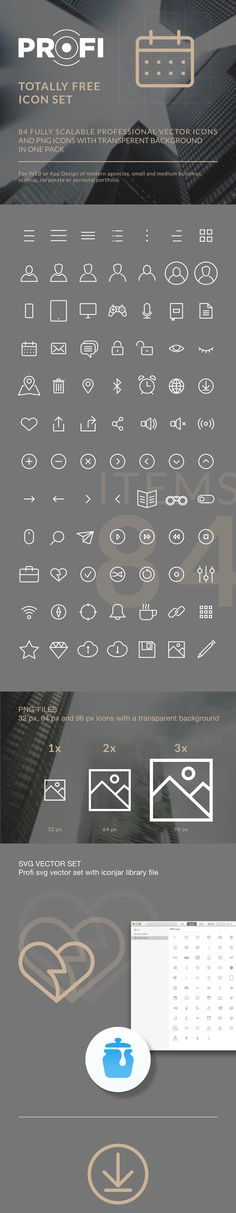 PROFI icon set84 fully scalable professional vector icons for any modern agency, small and medium business, startup, corporate or personal portfolio web, app. Set contains:- 1x, 2x, 3x PNG-files with transparent background. - Vector SVG-files- libr…