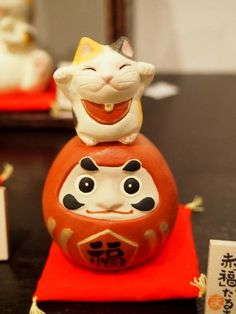 Japanese Dharma and Both-Hands Manekineko (Lucky Cat) Dolls as New Year Celebration Ornament