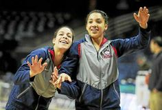 UConn's Kia Nurse, left, and Gabby Williams share a playful moment during warmups before an NCAA tournament game last March.