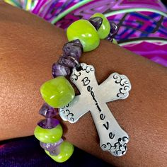 New to CICinspireme on Etsy: Lime and Amethyst Believe Cross hand stamped bracelet (21.50 USD)