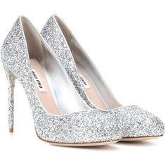 Miu Miu Glitter Pumps ($770) ❤ liked on Polyvore featuring shoes, pumps, heels, silver, miu miu, silver heeled shoes, heel pump, silver pumps and glitter pumps