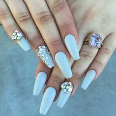 Long, Gray Ballerina Nails with Rhinestones