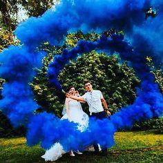 Wedding photo, Royal blue smoke bomb. #colorsmoke #wedding #smokebomb