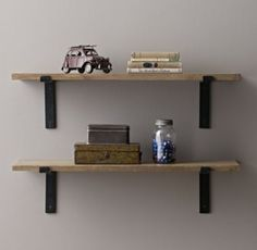 RH baby&child's Industrial Plank Shelf:Our industrial-inspired shelf eschews ornamentation, calling attention instead to the natural beauty of its materials and inherent functionality of its design.
