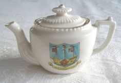 """Crested china miniature teapot with """"Weymouth"""" crest (SOLD) - www.vanishederas.com"""
