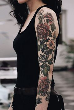 Flowers colored tattoo