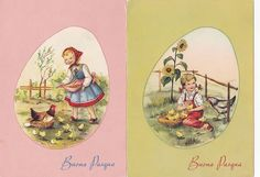 Two Cute Vintage Easter Postcards - Children Feeding Chickens - Buona Pasqua