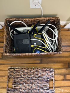 Hiding a Router and Modem in Plain Sight boxes to hide cords Hide Cable Box, Hide Cables, Hide Tv Wires, Hiding Cords, Hide Router, Licht Box, Modern Apartment Design, Hidden Tv, Cord Organization
