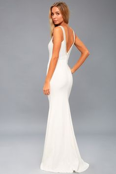 Ivory Beaded Maxi Dresses