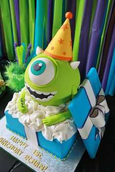 Monster's Inc. Mike Wazowski 1st Birthday Cake! By www.shookupcakes.com