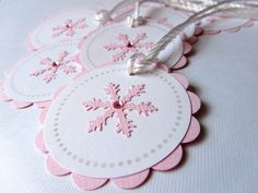 Christmas Gift Tags  Pink Snowflake  Set of 8 by WildBeanlore