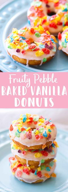These Fruity Pebble Baked Vanilla Donuts (aka, cereal milk donuts) are made with sweet cereal milk, Vanilla Donut Recipes, Baked Doughnut Recipes, Baked Doughnuts, Keto Donuts, Vanilla Cake, Mini Desserts, Easy Desserts, Dessert Recipes, Cereal Recipes
