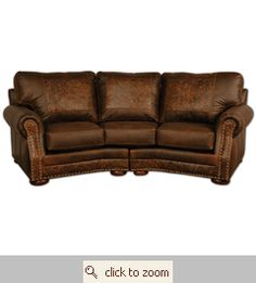 """""""Cameron"""" couch - dark leather with hand tooled accents Leather Living Room Furniture, Western Furniture, Unique Furniture, Home Furniture, Furniture Ideas, Curved Couch, Leather Sofa, Tooled Leather, Rustic Western Decor"""