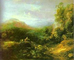 Thomas Gainsborough—landscape with stone bridge.