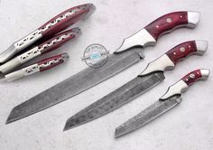 3 Pieces Set! Custom made beautiful Damascus steel Chef Kitchen Knives (870) #UltimateWarrior