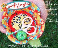 Jennifer Jangles Blog: Flower Pincushion and Bowl Project