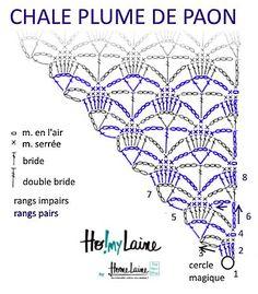 Chèche «Plume de paon» : modèle gratuit de Homelaine, #haken, gratis teltekening, haakschema, omslagdoek, #haakpatroon