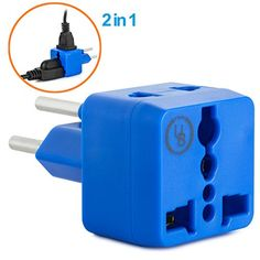 Yubi Power 2 in 1 Universal Travel Adapter with 2 Universal Outlets  Built in Surge Protector  Blue  Type H for Gaza Strip Israel  Palestine >>> Check out this great product.
