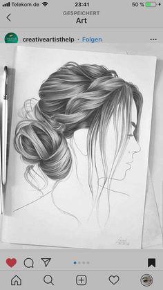 Hair Drawings, Pencil Drawings, Realistic Hair Drawing, Hair Sketch, Cardboard Art, How To Draw Hair, Pretty Art, Art Sketches, Sketching