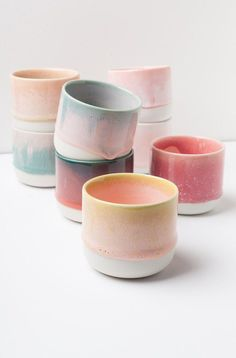 ceramic mugs This is the smaller version of the Slurp Cup.The Sip Cup is a small hand-cast and glazed porcelain cup. It can be used as coffee or a tea cup or as a pot for tiny plants or a Ceramic Cups, Ceramic Pottery, Ceramic Art, Ceramic Store, Pottery Pots, Painted Pottery, Pottery Wheel, Glazes For Pottery, Pottery Painting