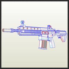 Heckler & Koch HK416 Assault Rifle Free Paper Model Download - http://www.papercraftsquare.com/heckler-koch-hk416-assault-rifle-free-paper-model-download.html