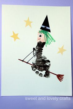 Footprint Flying Witch Using your childs foot some paint and paper scraps you can make this adorable witch this Halloween! The post Footprint Flying Witch was featured on Fun Family Crafts. Daycare Crafts, Baby Crafts, Toddler Crafts, Preschool Crafts, Crafts For Kids, Family Crafts, Infant Crafts, Theme Halloween, Holidays Halloween