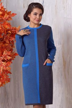 Оригинальное теплое платье с карманами купить в интернет магазине на новый год цена в Москве