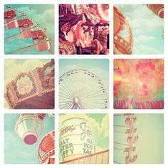Photographies de carnaval, ensemble de 9, cirque, décor shabby chic pour la nurserie, fPOE, grande roue, Carrousel, couleur pastel tendre
