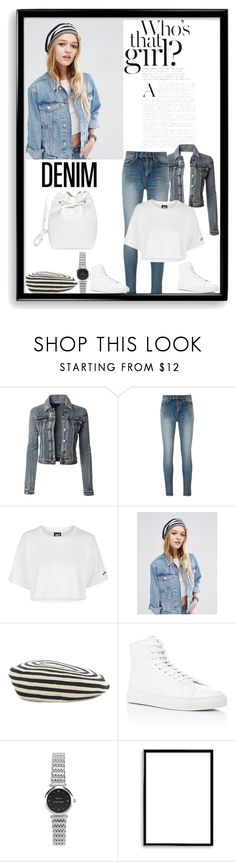 """""""Denim"""" by krystalkm-7 ❤ liked on Polyvore featuring LE3NO, Yves Saint Laurent, Topshop, ASOS, Gucci, Common Projects, Bomedo and Mansur Gavriel"""