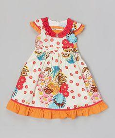 Loving this Orange & White Floral Ruffle Collar Dress on #zulily! #zulilyfinds