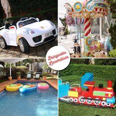 brinquedos para alugar em festas e eventos da guaciara com garro elétrico, carrossel, bote e trenzinho.