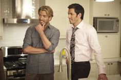 Production Still of Jonathan Silver Scott & Drew Scott on the set of Property Brothers