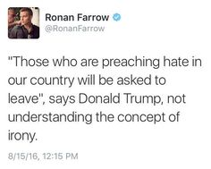 Funny Quotes About Donald Trump by Comedians and Celebrities: Ronan Farrow on Trump Preaching Hate
