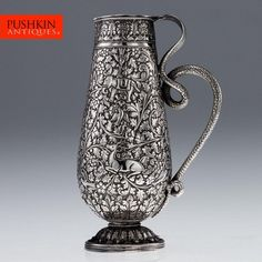 ANTIQUE 19thC RARE INDIAN CUTCH SOLID SILVER REPOUSSE SNAKE HANDLE JUG c.1880