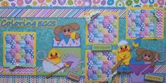 Coloring Eggs Easter 2 Premade Scrapbook Pages Layout 12x12 Paper Piecing | eBay