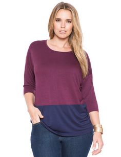 eloquii Two Tone Oversized Tee Vin Rouge/Ink #plussizefashion